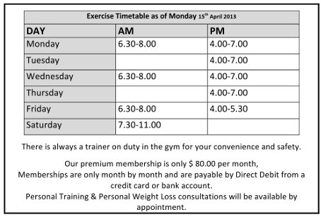 Gym timetable for Motivating Health & Fitness Factory Erina