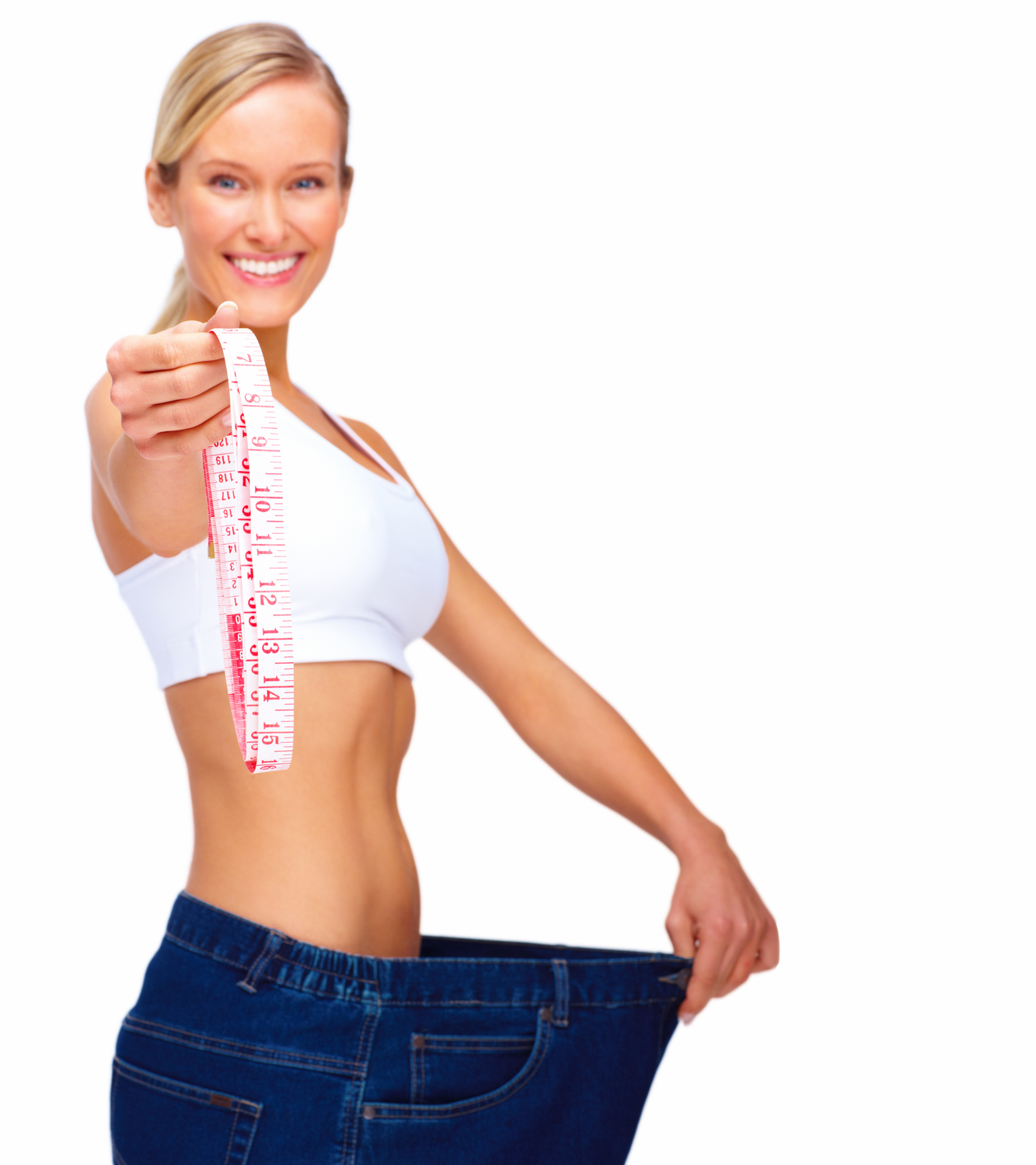 Weightloss Concept - Healthy young woman on white