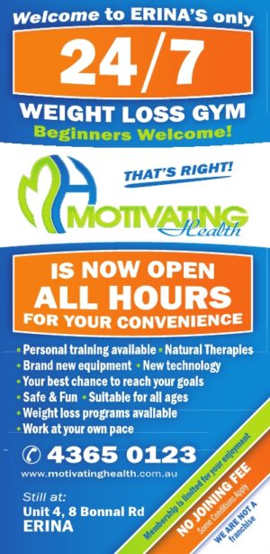 Motivating Health is now a 24 hour gym Erina